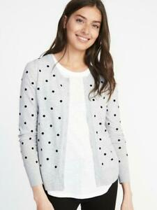 Details about NWT Women\u0027s Old Navy Button Down Gray Cardigan Sweater Black  Polk a dot XS S NEW
