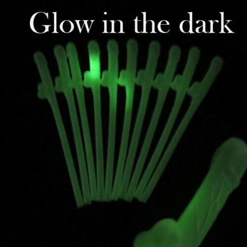 "Hen Party Glow in the Dark Willy Straws 7½/"" Girls Naughty Nights Drinking Straws"