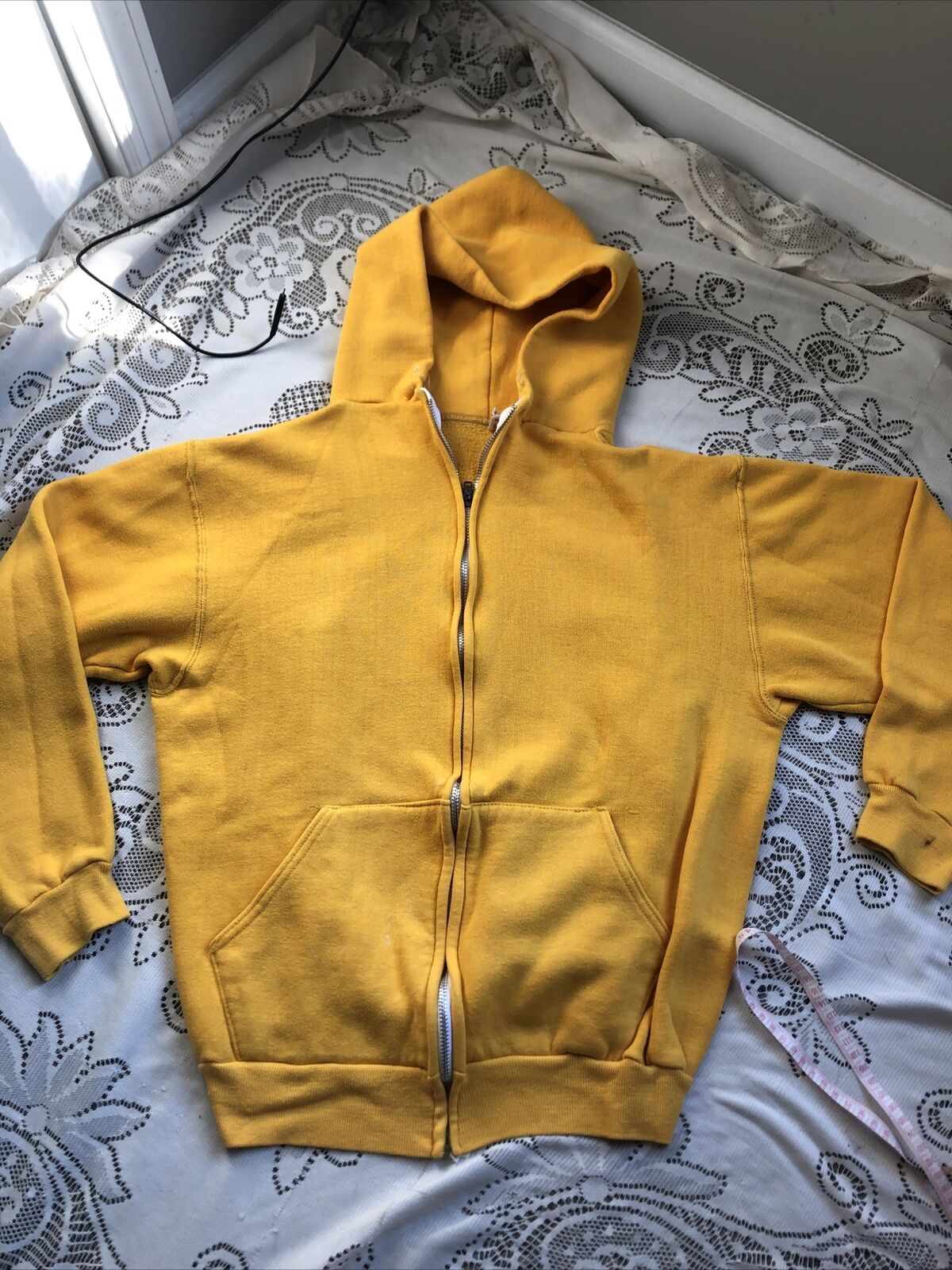 Vtg 70's 80's Russell Athletic Yellow Zip up Hood… - image 2