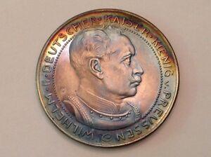 1913 Germany Prussia Wilhelm II Three 3 marks pattern by