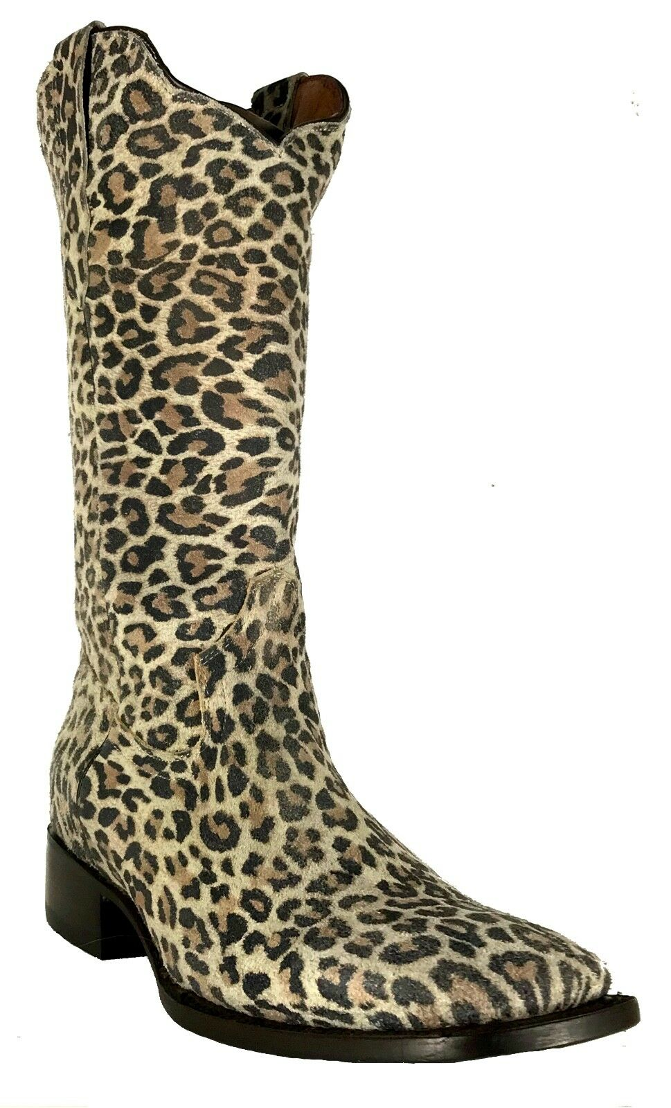 Wouomo New Leopard Design Leather Cowgirl Western stivali Sand Square Sale
