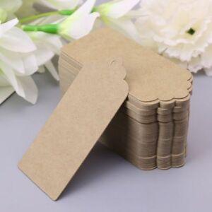 100pcs Brown Kraft Paper Tags Wedding Favor Hang Label Gift Cards AU