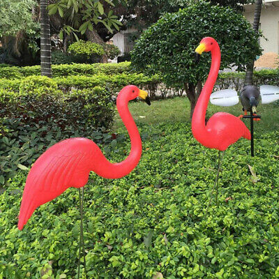 2er Gartenstecker Flamingo Blumenstecker Wackel-Figur Vogel Garten Dekor Set