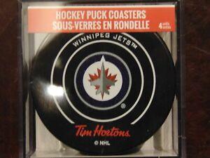 Tim-Hortons-Winnipeg-Jets-NHL-Hockey-Puck-Coaster-Set-MIB-Never-Used