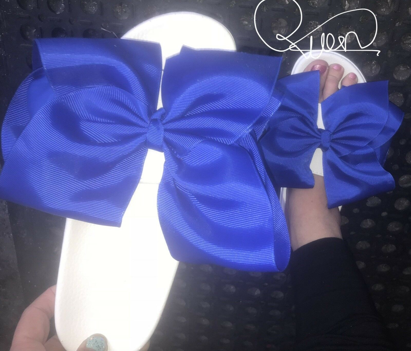 Beautiful Big Royal Blue Oversized Bow NEW Handmade Sliders Size 3,4,5,6,7,8 NEW Bow 30994f