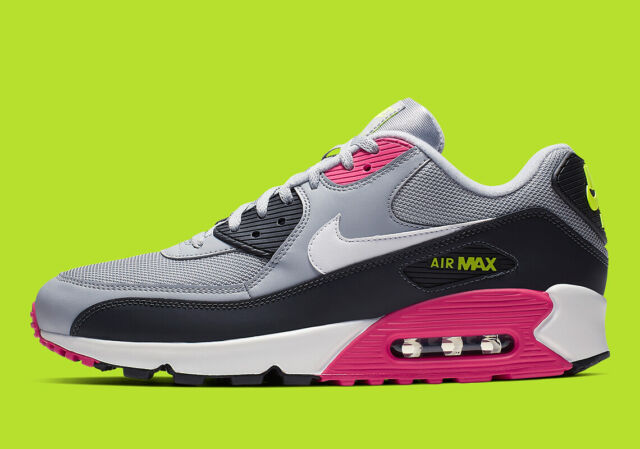 best service 2738d 3893b New Men's Nike Air Max 90 Essential Shoes (AJ1285-020) Wolf Grey/Rush  Pink-Volt