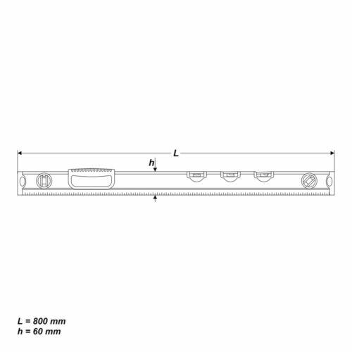 Wasserwaage Alu 800 mm Nivelliergerät Waagelineal 5 Libellen Messwerkzeug