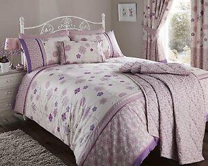 Image Is Loading Luxury Fleur Mauve Purple Flowers Duvet Quilt Cover