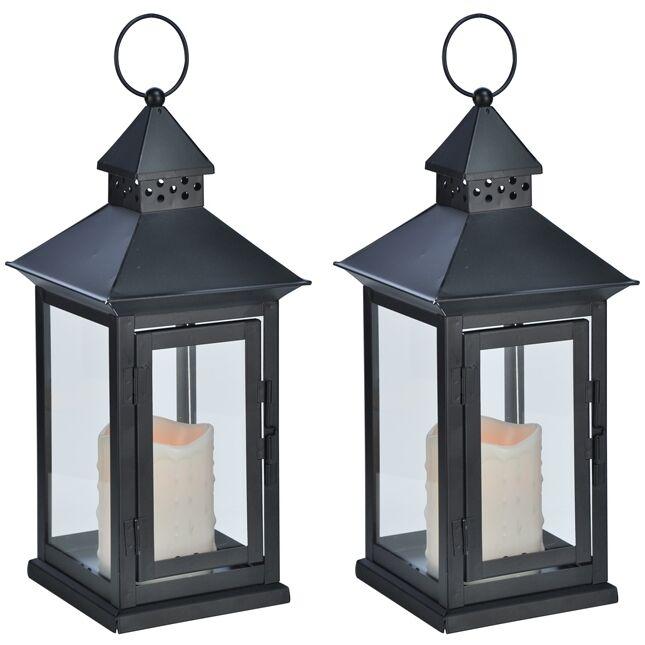2x Metall-Laterne Metall-Laterne Metall-Laterne Metalllaterne mit LED-Kerze mit gelber LED 15x15x34 cm schwarz  | Der neueste Stil  5bc506