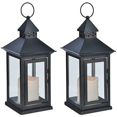 Metallo 2x-lanterna Lanterna In Metallo Con Led-candela Con Led Giallo 15x15x34 Cm Nero-