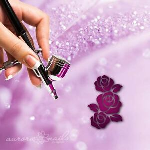 Airbrush-Adhesive-Stencils-bvg177-Nail-Art-Flower-Blossom-Rose-Floral-L-20stk