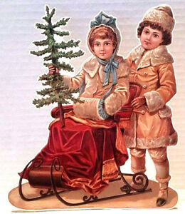 VICTORIAN-CHRISTMAS-DECORATION-Couple-Sleigh-Home-with-Tree-MINT-Shackman