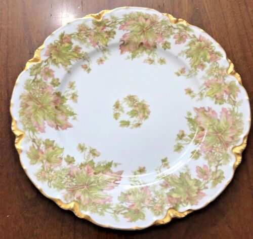 Haviland France Plate Red Maple Leaves Floral Pattern Gold Rim 9&58 inches
