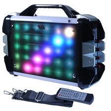"""Fully Amplified Portable 1000 Watt Peak Power 6.5"""" Speaker w/ LED Light - Silver"""