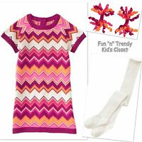 Crazy 8 Girl Size 3t 4t Chevron Sweater Dress + Tights + Hair Clips 3-pc Set