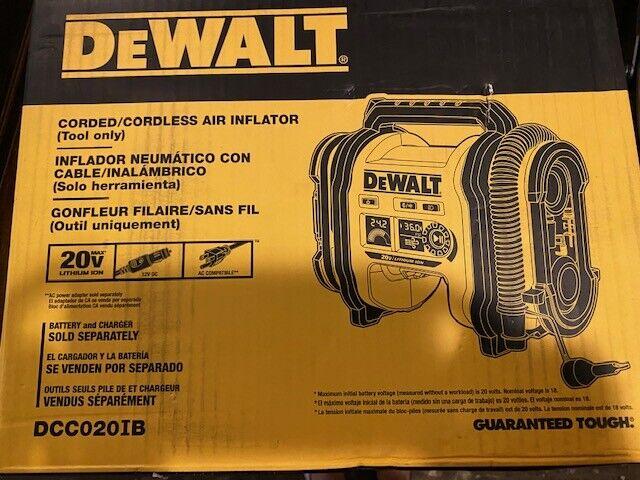 DCC020IB fnt-22 DEWALT DCC020IB 20V Max Cordless Air Inflator New In Box!