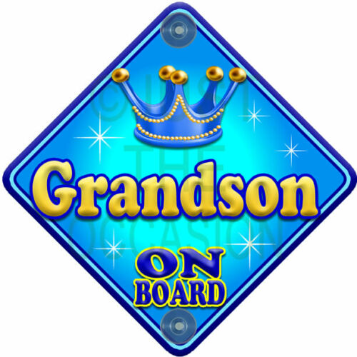 NEW  ALLURE GRANDSON  Blue for Boy Personalised Baby on Board Car Sign