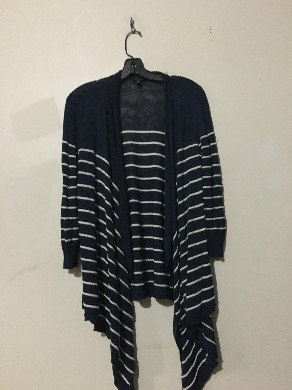 Ann Taylor Navy Cream Drapped Cardigan Sweater Women Stylish Size M