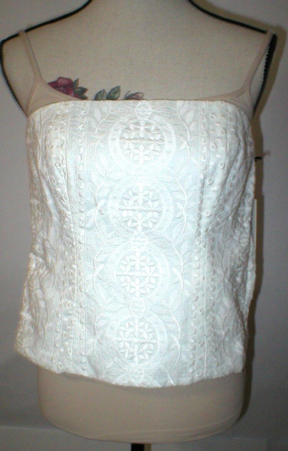 NWT  Worth Womens 4 Top Designer New York Tank Bustier Linen White Embroider