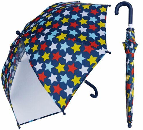 "32"" Arc Children Kid Star Print w//Clear Panel Umbrella-RainStoppers Rain Shine"