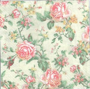 4 Single Paper Decoupage Napkins Rosesflowersshabby Chicgreen