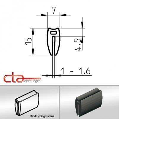1m Gummiprofil Dichtprofil Kantenschutz EPDM  schwarz KB 1 - 1,6 mm 1C38-02
