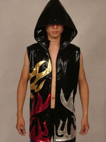 Fancy party lycra zentai wrestling vest//jacket metallic flame S-XXL