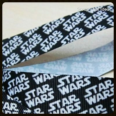 "STAR WARS Themed  RIBBON. 5/8""  Grosgrain. BLACK. Scrapbooking/Bows. Movie Title"