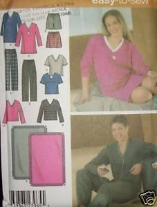 S-4957-Pajama-pattern-womens-MENS-2-piece-lounge-wear
