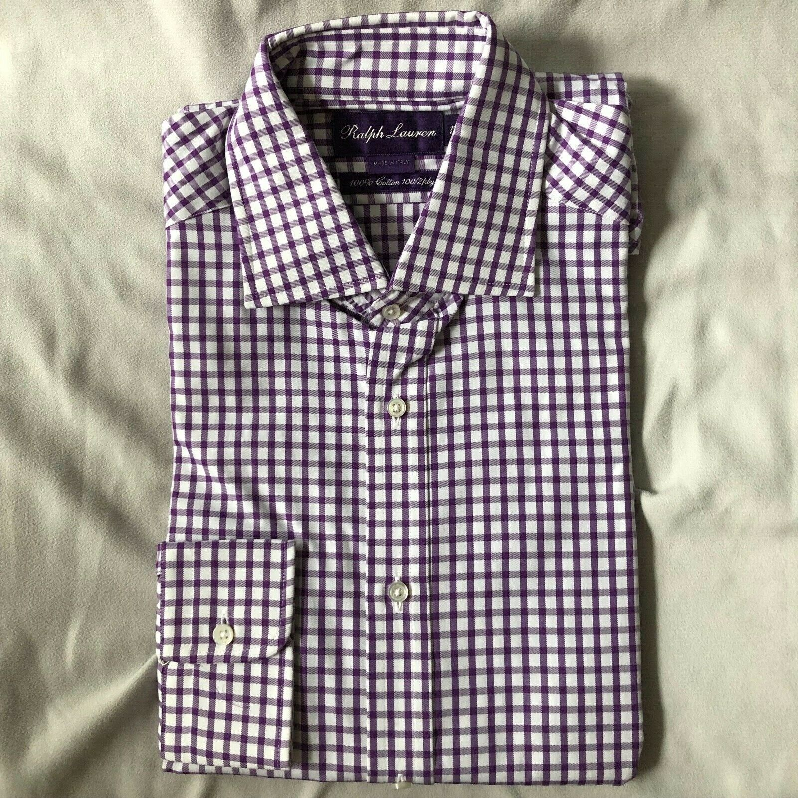Made in  Ralph Lauren lila Label 100 2 ply lila checked hemd 15