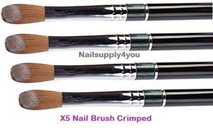 X5-SUPER-Kolinsky-Acrylic-Nail-Brush-for-Powder-Manicure-CRIMPED-Choose-Size