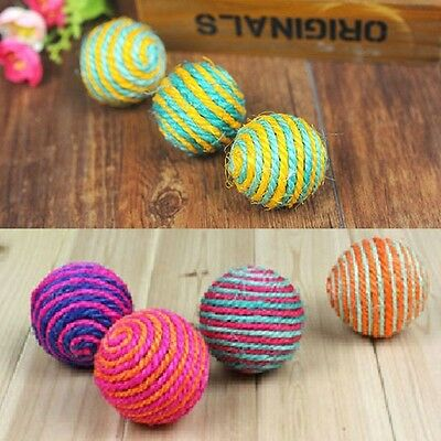 1x Funny Cat Kitten Sisal Rope Weave Ball Teaser Play Scratch Catch Toy
