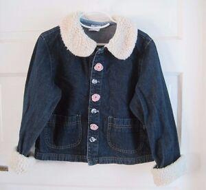 Bambino-Guess-Ragazze-Montone-Sintetico-Bordo-Decorato-Blu-Denim-Giacca-di-Jeans