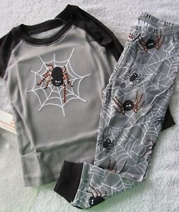 662034f4538a NWT GYMBOREE GRAY Halloween Embroidered SPIDER PAJAMAS PJS GYMMIES ...