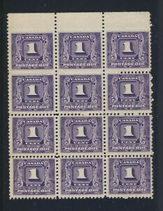 12x Canada Postage Due Stamps Block of 12 #J1-1c MNG F/VF Guide Value = $156.00