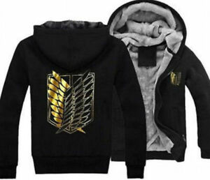 6e8d1a63a56e Attack On Titan Survey Legion Winter Hooded Coat Jacket Hoodie Free ...