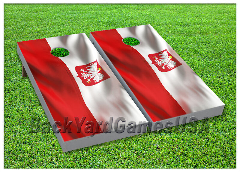 Cornhole Polish Flag Boards BEANBAG TOSS  GAME w Bags Set 7  top brands sell cheap
