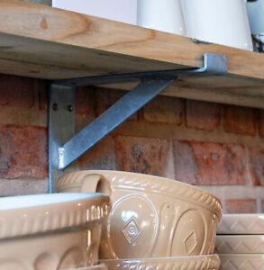 Details about Vintage retro industrial galvanised metal shelf bracket 230mm