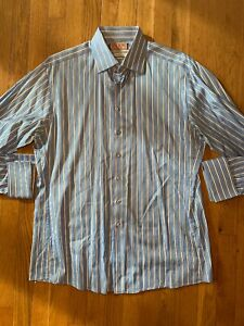 Thomas-Pink-Slim-Fit-Stretch-Button-Up-Shirt-16-5-42cm-Blue-EUC-French-Cuff