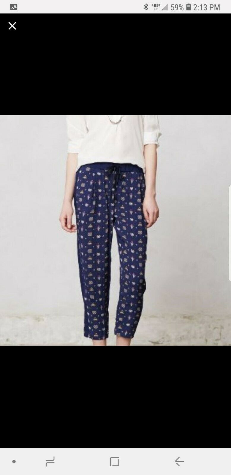 LeifNotes Paisley Method Trousers Pants, pull on style bluee NW ANTHROPOLOGIE.