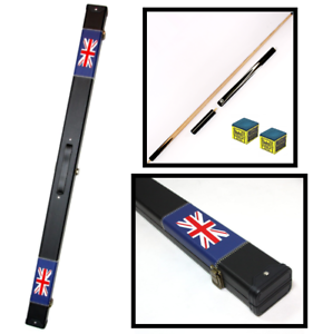 Snooker-Pool-Handmade-Hard-Cue-Case-with-3-4-Split-Ash-Cue-UK-Flag-Design