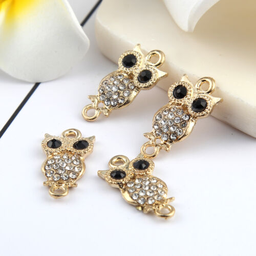 Or 10pcs Hibou Animaux perles connecteur strass Fit À faire soi-même Bracelet 21*8mm