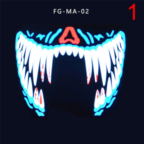 LED Luminous Flashing Face Mask Party Masks Light Up Dance Halloween Cosplay JPZ