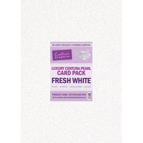 paquete de 40 Crafter/'s Companion Centura Perla Fresco Blanco de Lujo Tarjeta A4
