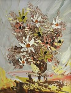 1984 Rare Signed Morris Katz Floral Art Flowers Textured Oil Masonite Painting