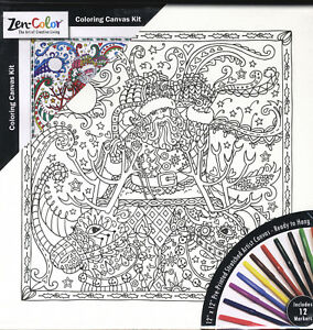 """Adult Coloring 12/""""X12/"""" Black /& White Canvas With 12 Markers-Lady"""