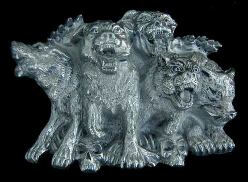 PACK OF SNARLING HELL HOUNDS BELT BUCKLE NEW NICE!