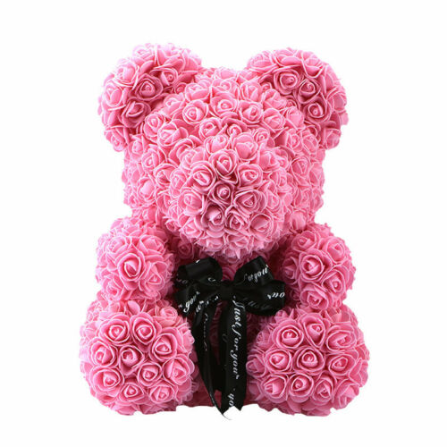 Red Pink Blue Rose Bear Flower Teddy Toy 40cm Gift Box Set For Valentine/'s Day