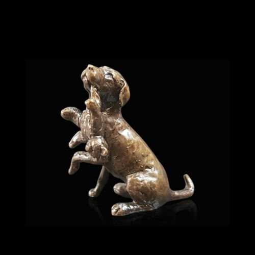 2074 Labrador with Teddy Bronze Foundry Cast Detailed Sculpture Butler /& Peach