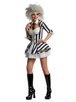 Adult Miss Beetlejuice Halloween Ladies Outfit Including Wig Fancy Dress Costume